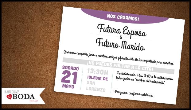 Invitación de boda moderna para descargar gratis - Invitaciones boda - plantillas para invitaciones gratis