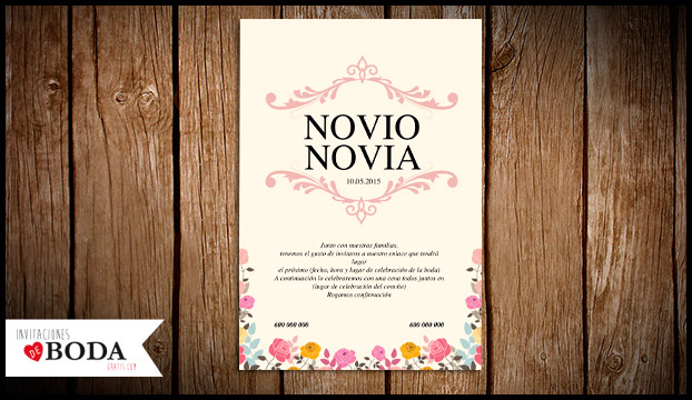 Invitaciones de bodas vintage con flores ✨ Para imprimir gratis