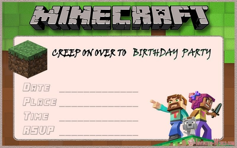 Blank Minecraft Invitations Plus Blank Birthday Invitationtemplate
