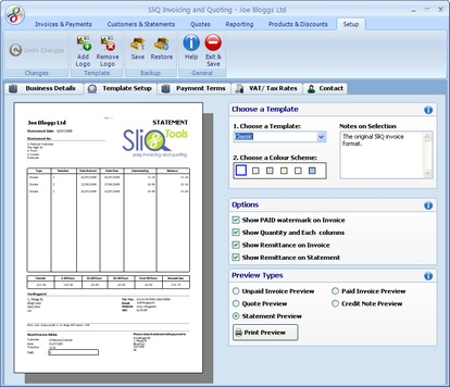 Invoice Templates supported within SliQ Invoicing and Quoting