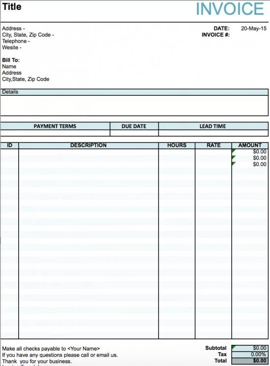 Free Artist Invoice Template Excel PDF Word (doc) - bills template free
