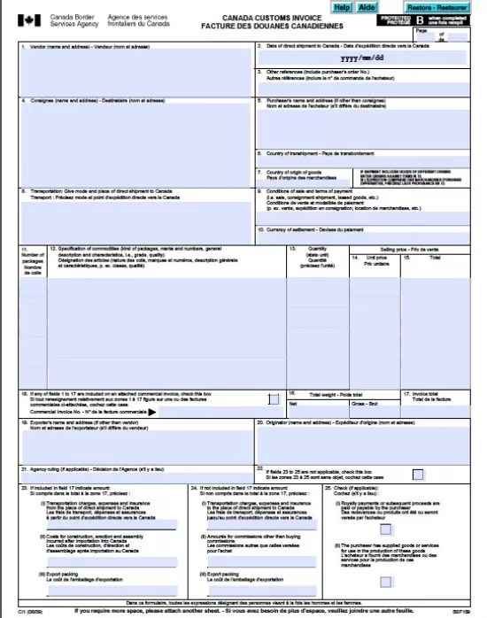 Free Canada Customs Commercial Invoice Template Form CI1 Excel - comercial invoice template