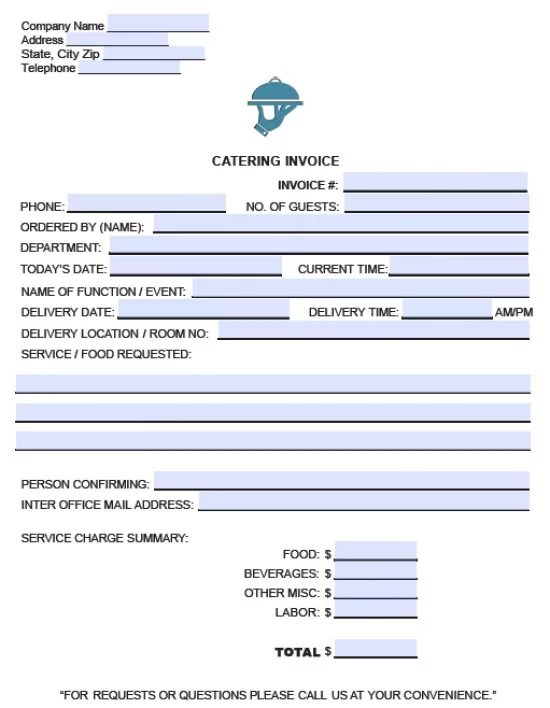 Free Catering Service Invoice Template Excel PDF Word (doc) - create an invoice form
