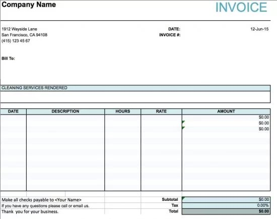 Free House Cleaning Service Invoice Template Excel PDF Word - invoice services