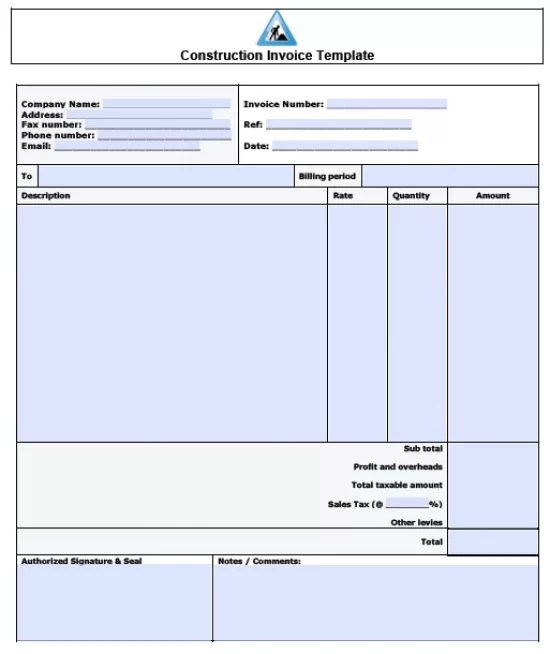 Free Construction Invoice Template Excel PDF Word (doc) - ms custom invoice template