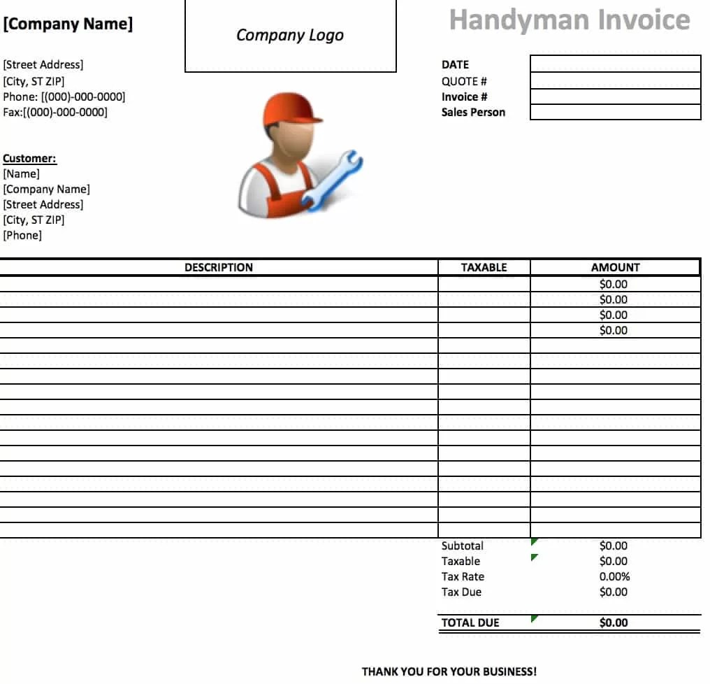 invoice template handyman cover letter template for resume invoice template handyman quotation template invoice template sample invoice handyman invoice template excel pdf word