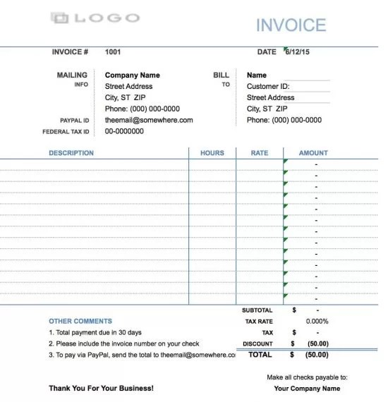 Free Hourly Invoice Template Excel PDF Word (doc) - how to create an invoice on excel