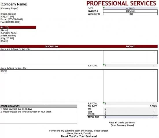 Free Professional Services Invoice Template Excel PDF Word - professional service invoice template