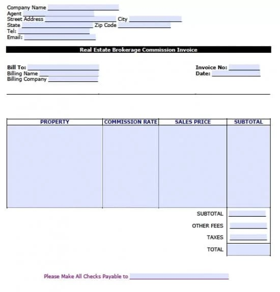 Free Real Estate Brokerage Commission Invoice Template Excel - create an invoice form