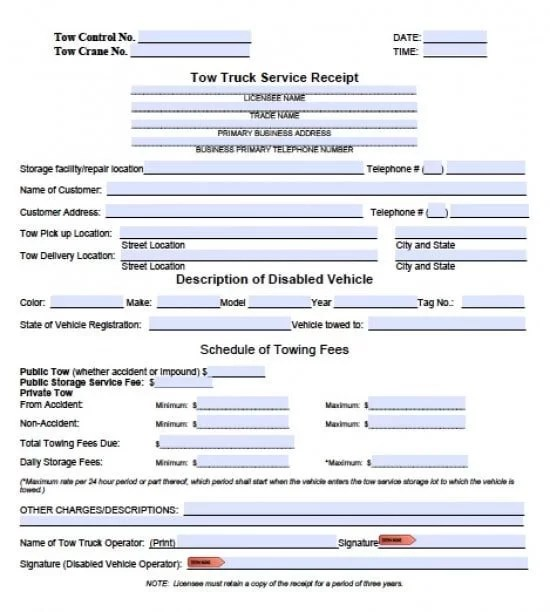 tow-truck-invoice-template-pdf-word-550x612jpg - rate sheet template