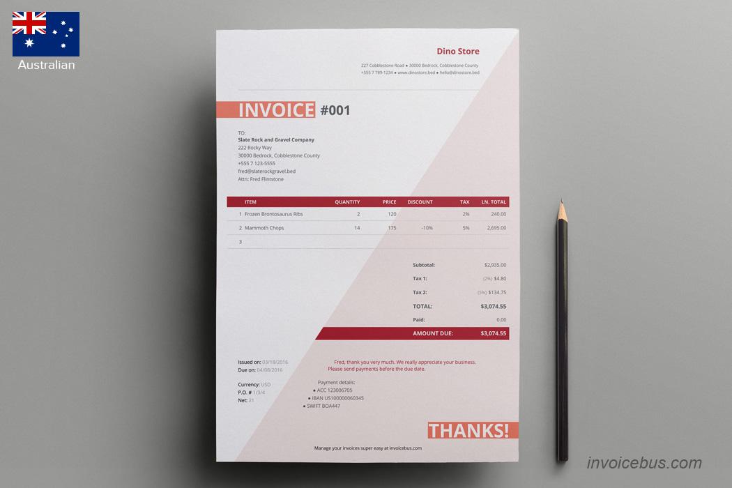 Australian Invoice Template - Coparda