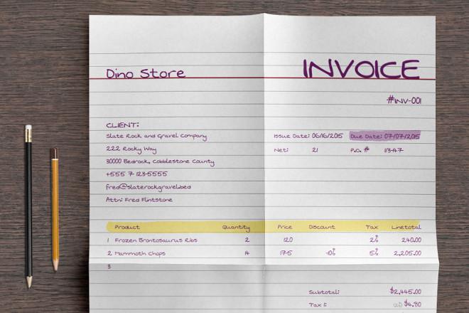 example handwritten invoice – neverage, Invoice templates