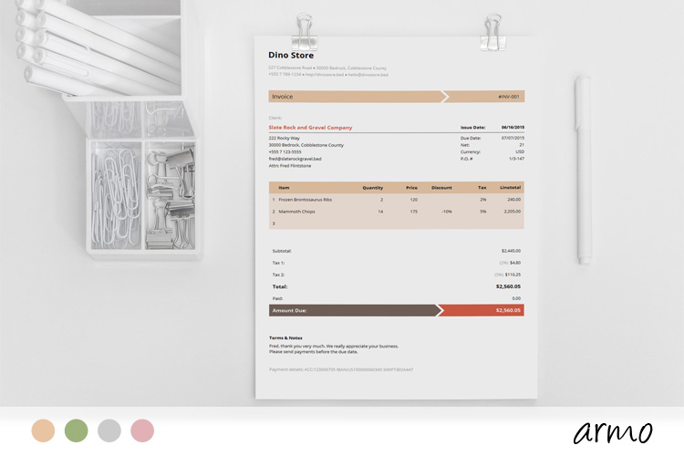 Business Invoice Template - Armo