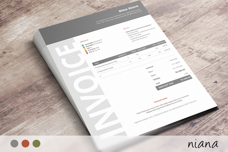Commercial Business Invoice - Niana