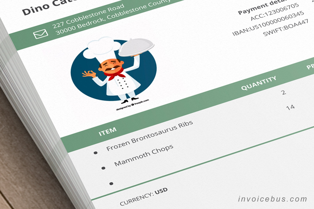 Catering Invoice Template - Ori - catering invoice example