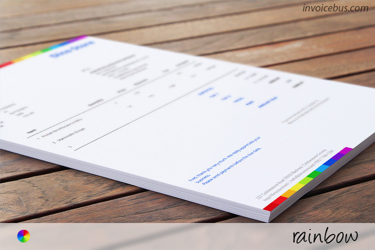 Commercial Invoice Template - Rainbow - free invoicing templates