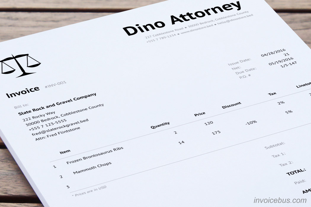 Legal Invoice Template - Clean - legal invoice template
