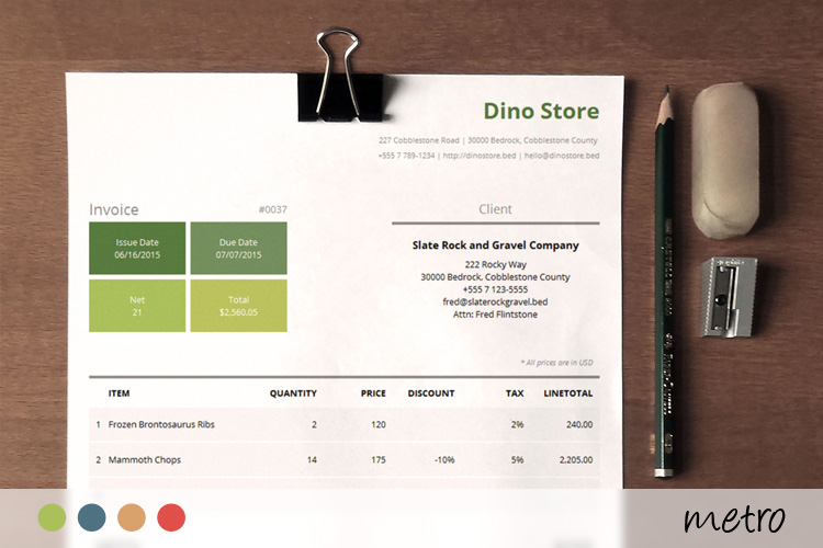 Simple Corporate Invoice Template - Metro