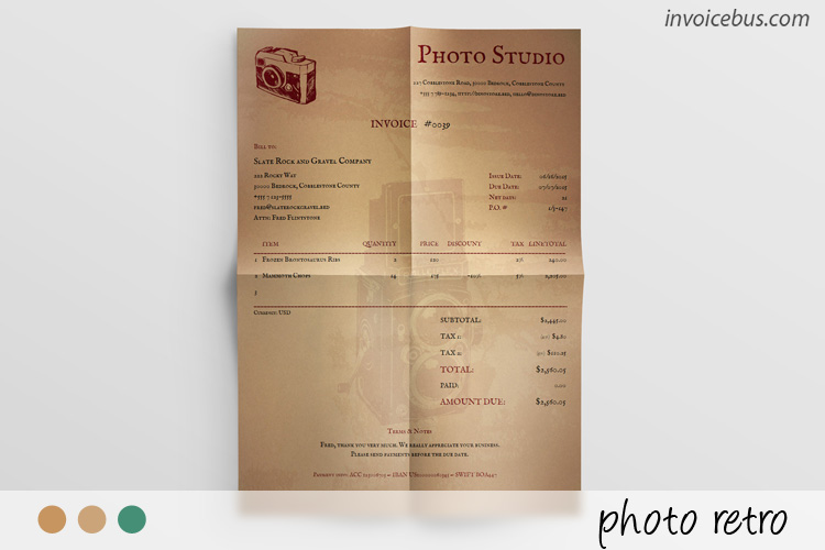 Photography Invoice Template - Photo Retro - photography invoice template