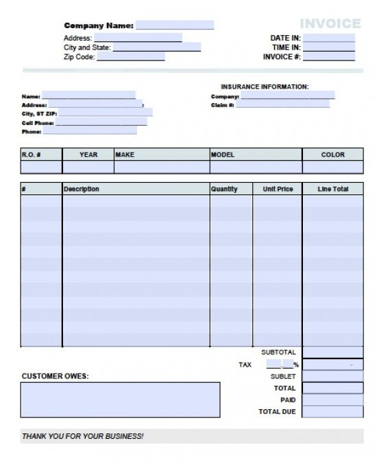 Free Auto (Body) Repair Invoice Template Excel PDF Word (doc)