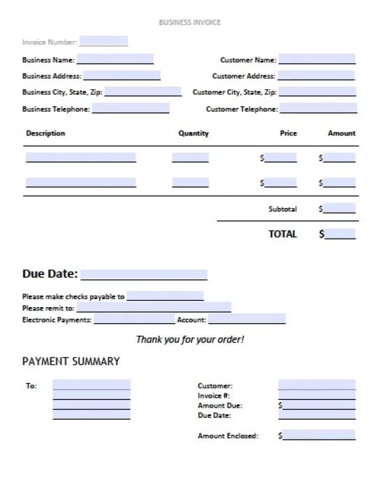 Free Business Invoice Template Excel PDF Word (doc)