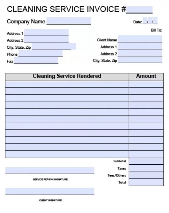 Free House Cleaning Service Invoice Template Excel PDF Word (doc)