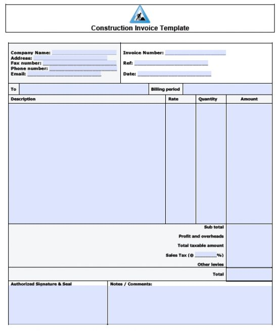 Free Construction Invoice Template Excel PDF Word (doc) - contractors invoice template
