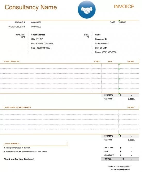 Free Consulting Invoice Template Excel PDF Word (doc) - invoice for consulting