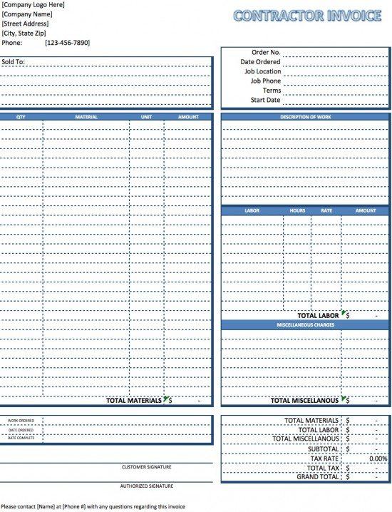 Free Contractor Invoice Template Excel PDF Word (doc)