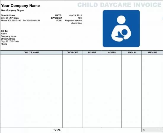 Free Daycare (Child) Invoice Template Excel PDF Word (doc) - daycare invoice template