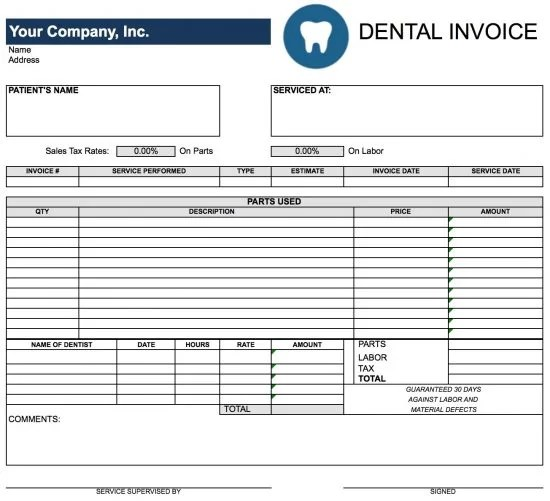 Free Dental Invoice Template Excel PDF Word (doc)