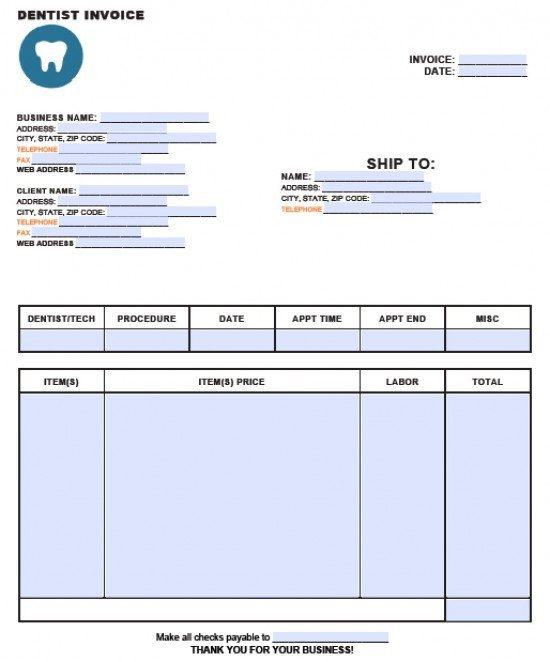 Free Dental Invoice Template Excel PDF Word (doc) - microsoft invoice template