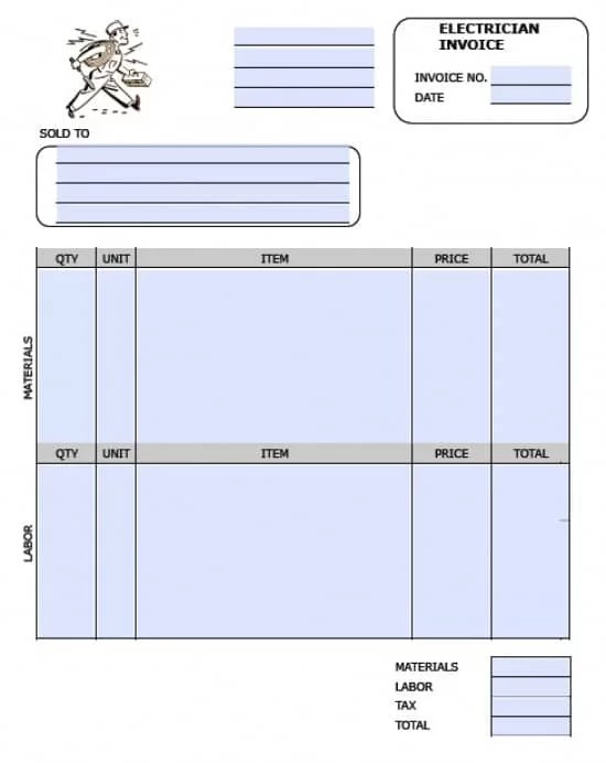 Free Electrician Invoice Template Excel PDF Word (doc) - electrical contractor invoice template