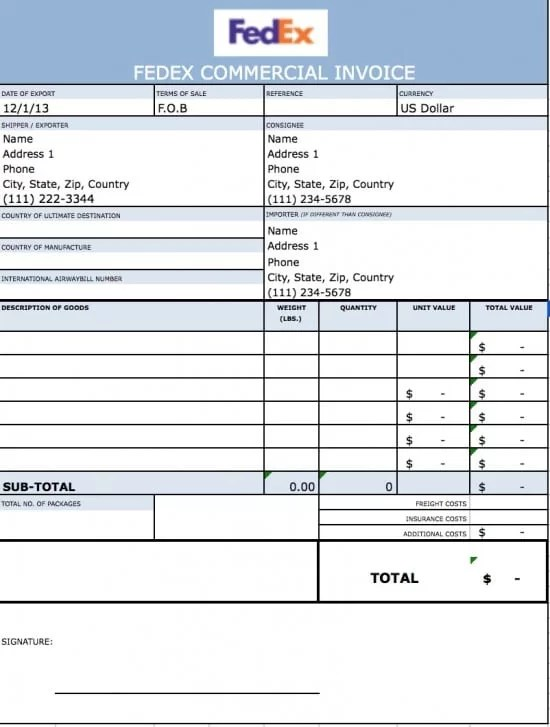 commercial invoice excel template - Onwebioinnovate - excel invoice