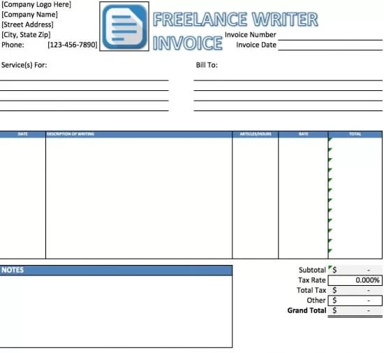 Free Freelance Writer Invoice Template Excel PDF Word (doc)