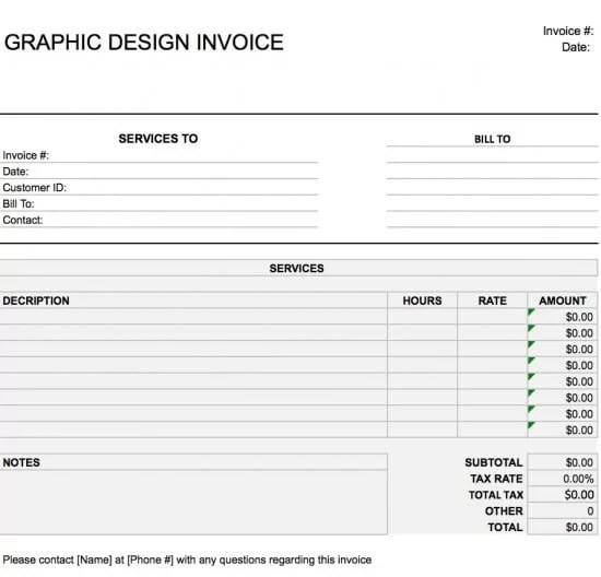 Free Graphic Design (Web) Invoice Template Excel PDF Word (doc)