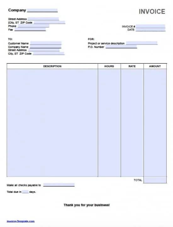 Free Hourly Invoice Template Excel PDF Word (doc) - invoice template for microsoft word