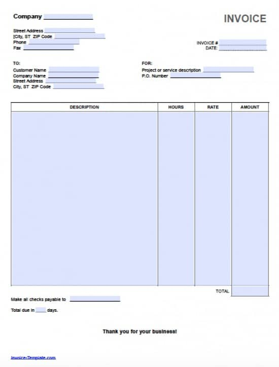 Free Hourly Invoice Template Excel PDF Word (doc)