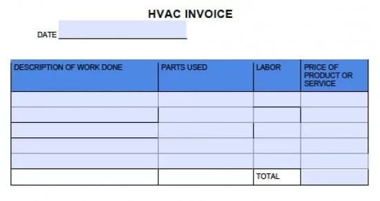 Free HVAC Invoice Template Excel PDF Word (doc)