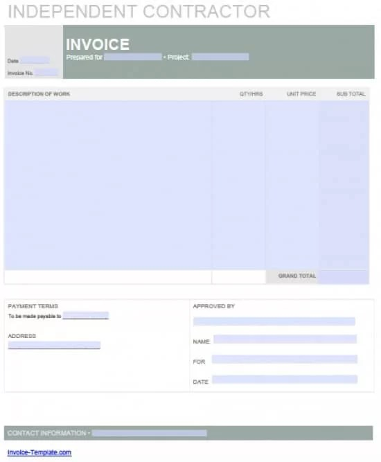 Free Independent Contractor Invoice Template Excel PDF Word (doc) - Contractor Invoice Form