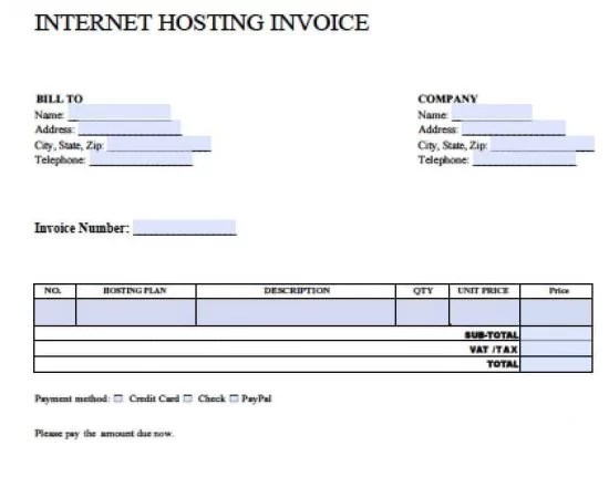 Free Internet Hosting Invoice Template Excel PDF Word (doc) - Invoice Templets