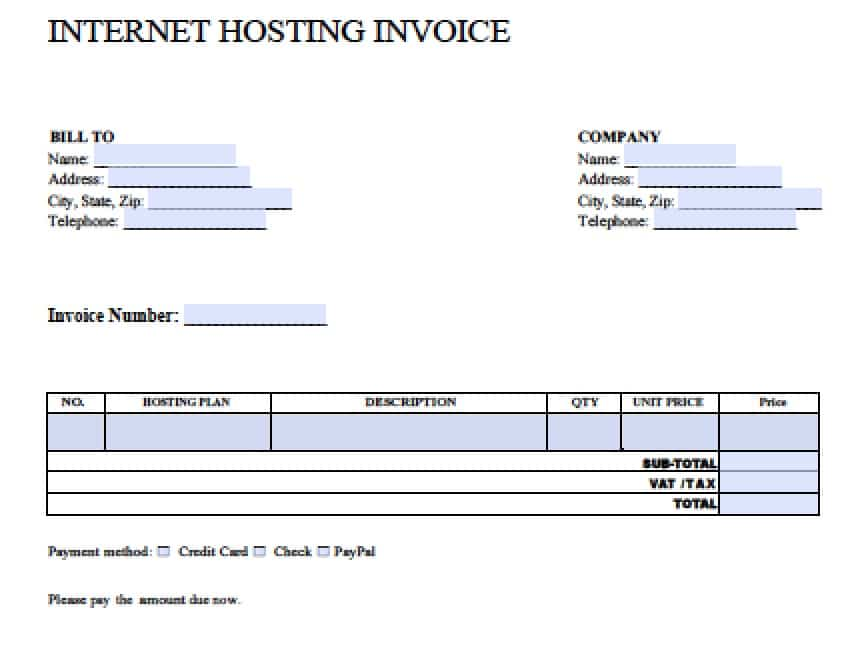 Free Blank Invoice Templates in PDF, Word,  Excel - copy of a blank invoice