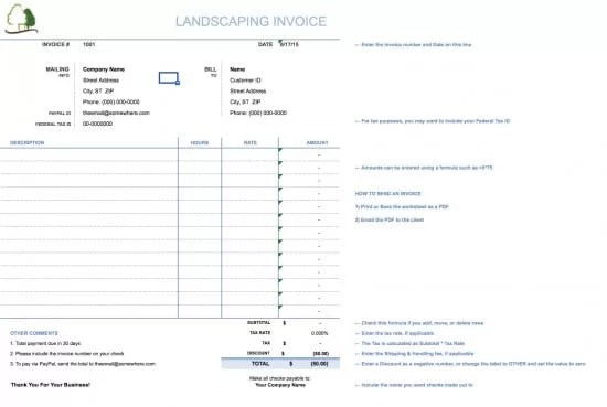 Free Landscaping (Lawn Care Service) Invoice Template Excel - microsoft invoice template