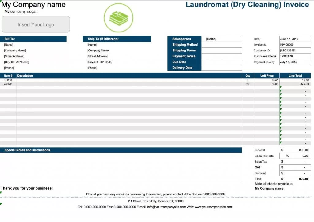 Free Laundromat (Dry Cleaning) Invoice Template Excel PDF Word