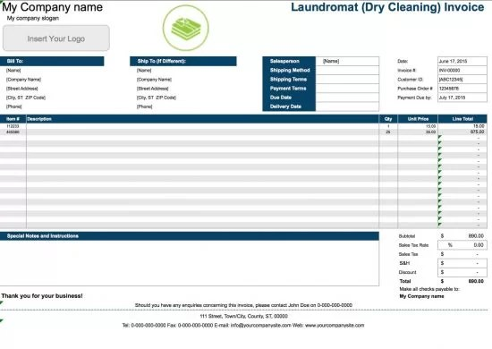 Free Laundromat (Dry Cleaning) Invoice Template Excel PDF Word - invoice template singapore