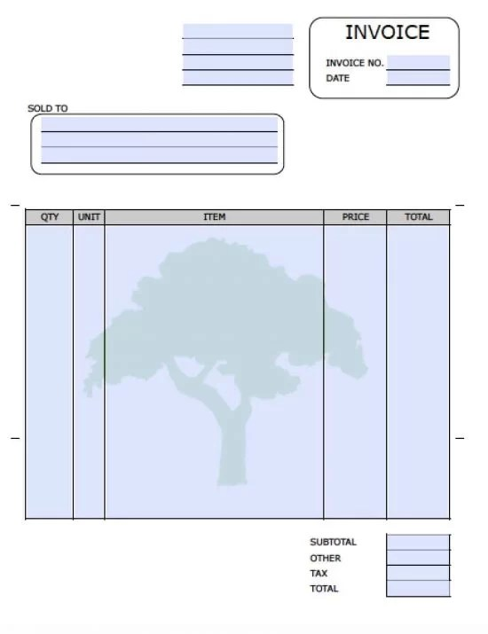 Free Landscaping (Lawn Care Service) Invoice Template Excel PDF - free downloadable invoices