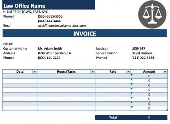 Free Legal (Attorney/Lawyer) Invoice Template Excel PDF Word - Microsoft Office Receipt Template