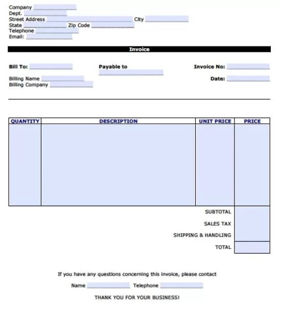 Free Personal Invoice Template Excel PDF Word (doc) - how to do an invoice for work