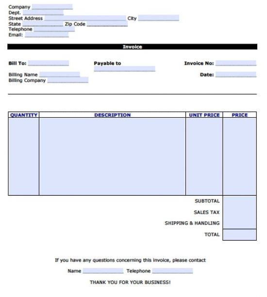 Free Personal Invoice Template Excel PDF Word (doc) - how to create an invoice in word