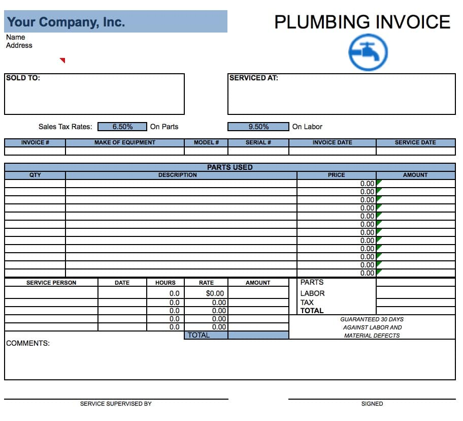 Free Plumbing Invoice Template Excel PDF Word (doc) - example of invoice form